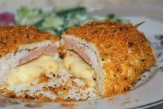 """Schnitzel of chicken breast """"Cordon Bleu"""" Ingredients: chicken breast fillets - 4 pcs. Ham - 4 slices of cheese - 4 slices of Parmesan cheese - 2 tbsp Party Food Meat, Best Party Food, Entree Recipes, Cooking Recipes, Parmesan, Baked Chicken, Chicken Recipes, Good Food, Gourmet"""