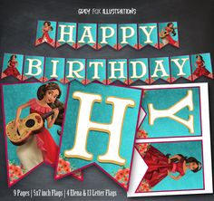 This item is a non personalized instant download. No physical items will be mailed. Shop more Elena items here: https://www.etsy.com/shop/GreyFoxIllustrations?ref=hdr_shop_menu&search_query=elena+of+avalor Birthday Banner includes Happy Birthday letter flags and 4 character flags. Each flag measures 5 inches width x 7 inches height, two on each 8.5 x 11 inch page. The PDF file includes 9 pages, you may print as many as you need at home. ★ Instant download:...