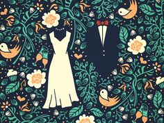 Pattern for a wedding invitation [wip] by Szende Brassai / Adline on Dribbble: https://dribbble.com/shots/1487385-Pattern-for-a-wedding-invitation-wip