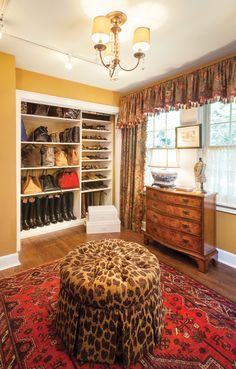 Dressing room featuring rich color and flirty prints.