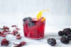 Hibiscus Blackberry Old Fashioned: Bring the ultimate classic into spring 2016 with the help of homemade hibiscus simple syrup and fresh blackberries.