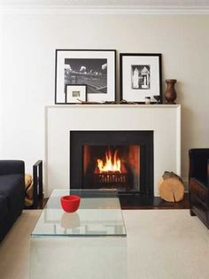 black and white fireplace design