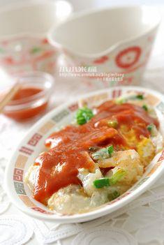 蚵仔煎進化版--海鮮煎 Oyster pancake (Can use romaine lettuce)  Serve with soup
