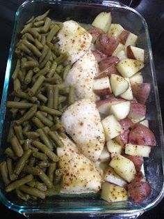Dinner all in one pan: chicken, potatoes, green beans + italian dressing packet. Bake in the oven @ 350 for 1 hour