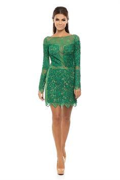 Vestido Curto Renda Decote Costas Verde - roupas-festas-iorane-f-vestido-curto-renda-decote-costas-verde Iorane