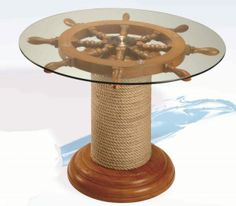 This is a lovely glass topped wood nautical table ships wheel coffee table, ideal for any nautical living room or maybe for the office of a sea loving business man. Nautical Office, Nautical Table, Nautical Home, Seaside Decor, Coastal Decor, Boat Shelf, Florida Design, Wood Patterns, Industrial