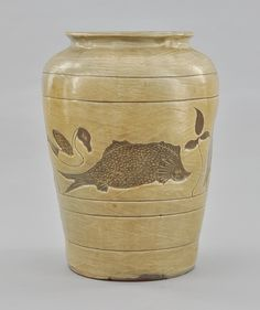 """Korean Fish Storage Jar. Age unknown, pottery jar with impressed decorations of fish and fowl, incised banding and wiped glaze, similar to the Hakeme technique. Apprx. 12-3/4""""T x 9-1/2""""D at shoulder."""