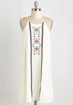 Hip, Hip, Vacay Dress. Celebrate the first day of your getaway in this ivory shift dress! #white #modcloth