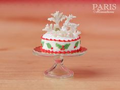 Miniature Food for Christmas / Xmas / Holidays - A beautiful Winter Wonderland cake decorated with a snow-covered tree, snowflakes and a