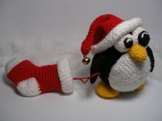 Christmas Penguin pdf crochet toy pattern by mashutkalu on Etsy
