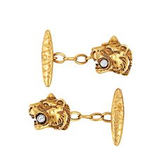 Pair of Antique Gold, Platinum and Diamond Lion Head Cufflinks   Ap. 8.2 dwt.