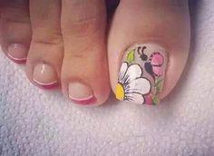 Cute Pedicure Designs, Toe Nail Designs, Nails & Co, Pink Nails, Pedicure Nail Art, Toe Nail Art, Cute Toe Nails, Pretty Nails, French Nails
