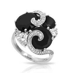 Andromeda Black & White Ring by Belle Etoile. Fashion Jewelry. Street Fashion. Silver Jewelry.