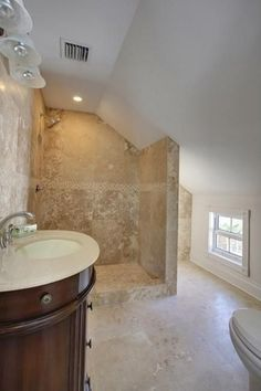 Mediterranean 3 4 Bathroom With Ms International Durango Cream Travertine Three Quarter Bath