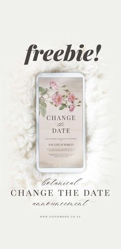 A free editable botanical change the date announcement for mobile sending. A quick and easy design to edit and send to your guests about the postponement of your wedding due to measures. Simple Designs, Announcement, Dating, Place Card Holders, Change, Easy, Blog, Free, Simple Drawings