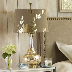 Pier 1 Imports Gold Leaf Glass Table Lamp ($125) ❤ Liked On Polyvore  Featuring