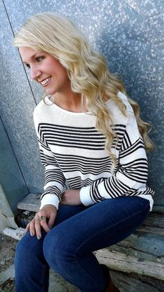 Navy & White Striped Sweater