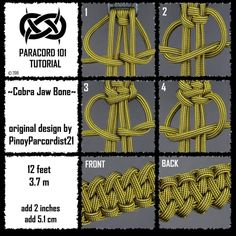 Reposted from - ~Cobra Jaw Bone~ original concept by - Paracord Bracelet Designs, Bracelet Knots, Paracord Projects, Paracord Bracelets, Paracord Tutorial, 550 Paracord, Macrame Tutorial, Parachute Cord, Diy Bracelet