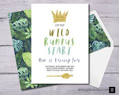 Where The Wild Things Are Invitation, Where The Wild Things Are Birthday Invitations, Wild Things Invitation, Wild Things Party Invite, Wild by abbeygatedesigns on Etsy https://www.etsy.com/listing/532049449/where-the-wild-things-are-invitation