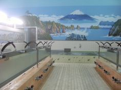 """Sentou"" Bathhouse 銭湯 Japanese Public Bath, Japanese Bath, Scenery, Architecture, World, Tile, Bathroom, Videos, Funny"