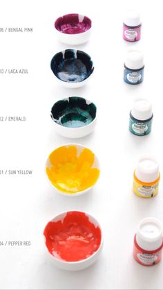 Here's an example of some of the colors that Vitrea 160 paint comes in. You can also mix colors together to create custom blends that more closely match the colors you like best. I hope you enjoy making your own assortment of dishes. Just beware that it's hard to stop making them once you start! :P