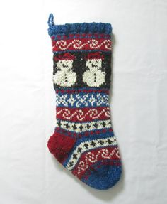 Wool knit Christmas Stocking Fair Isle with by SantasSockCentral