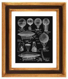 Hot Air Balloons, Dirigible Balloons Print, Vintage Aerostation Illustration
