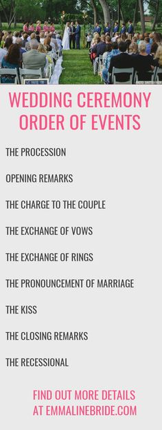 How to Plan Your Ceremony -- Order of Events   http://emmalinebride.com/ceremony/order-events/