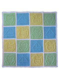 Popcorn Patchwork Blanket For Boys Crochet Pattern Pack