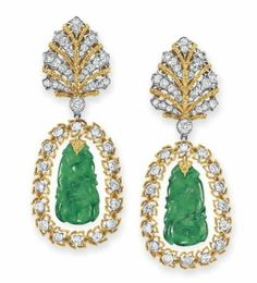 A pair of jade, diamond and gold ear pendants, by Buccellati