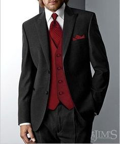Red tie and waistcoat  combo