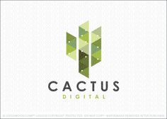 Logo for sale: Simple cactus logo design created with geometrical triangular pixel shapes that are arranged in a mosaic like pattern to create the impress of a cactus plant.