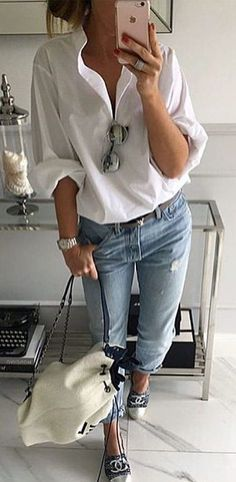 #fall #outfits White Blouse + Ripped Jeans