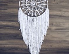 "Dream catcher with White doily 10"" - Crochet Boho Wedding decor with Beautiful…"