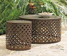 """Amazon.com : Shiva Lattice Coffee Table, 18""""Hx33"""" ROUND, BRONZE : Patio, Lawn & Garden"""