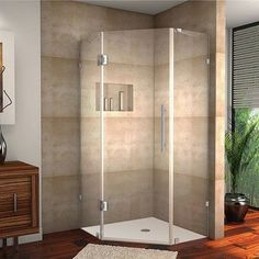 Aston Neoscape Completely Frameless Neo-Angle Hinged Shower Enclosure &…