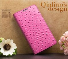 Cover Galaxy Note 3 Qialino Ostrich Leather Motif Flip