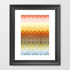 Half Circles Waves Color Framed Art Print by Danny Ivan - $35.00