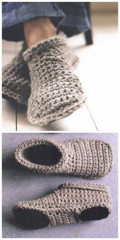 DIY Sturdy Crochet Slipper Boots Free Pattern from SMP Craft. I really like the look of these slippers because they are unisex and don't look like thick socks. There is one question about 1 row in the pattern - so check the comments' section for clarification. Don't crochet? I also like these thick knit DIY Slipper Boots with Free Patterns by DROPS Design.