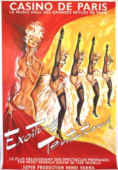 Casino de Paris Exciting Tentations 1960s - original vintage poster by Okley (Pierre Gilardeau) listed on AntikBar.co.uk
