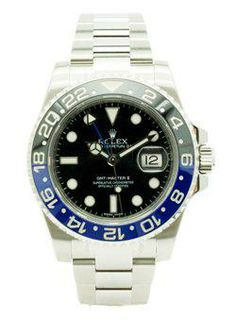 Rolex Oyster Perpetual Date GMT-Master II Watch. 40mm stainless steel case, bidirectional rotatable bezel with 24-hour engraved black and blue Cerachrom insert BOX AND PAPERS DATED DEC/2013 (LNIB) TAX IN Rolex Oyster Perpetual Date, Stainless Steel Case, Oysters, Rolex Watches, Canada, Box, Accessories, Black, Snare Drum