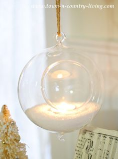 Hanging Glass Terrarium becomes candle holder with tea light