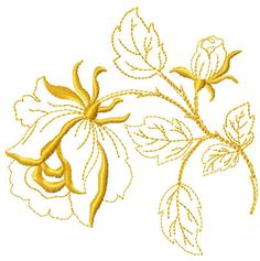 Gold rose free embroidery design - Flowers free machine embroidery designs - Machine embroidery community
