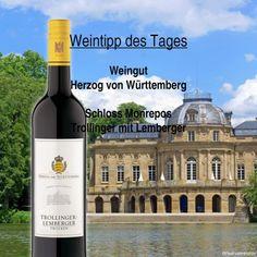 Unser #Wein - Tipp des Tages! Schloss Monrepos Trollinger mit Lemberger vom Weingut Herzog von Württemberg. Eine #Cuvée aus verschiedenen Lagen des Weinguts. Milde, gut eingebundene Fruchtsäure, elegante Würze und Aromen von Kirsche, Gewürzen und einem Anklang von Karamell. Passt ideal zu Gegrilltem, kurz gebratenem und in geselliger Runde.