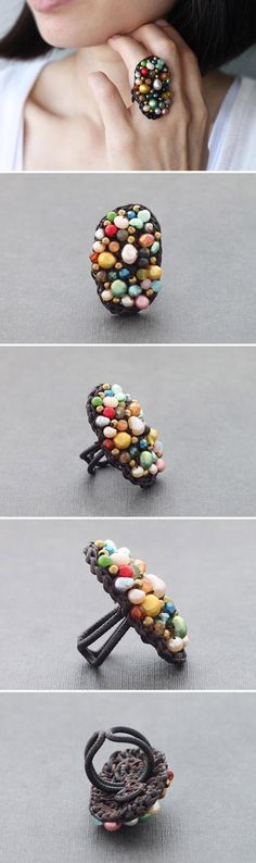 A riot of colors in one single ring. #etsy