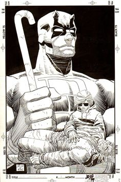 Daredevil by John Romita Jr. for Marvel Comics. shading and dramatic composition. Daredevil emerges from the tragedy of Matt Murdock's father's murder. Comic Book Artists, Comic Book Heroes, Comic Artist, Marvel Heroes, Comic Books Art, Daredevil Man Without Fear, Frank Miller Art, Daredevil Art, D Mark