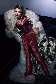 Pregnant Danielle Lloyd works Gothic glamour in glitzy fashion shoot Danielle Lloyd, Red Boots, Thigh High Boots, Fashion Shoot, Old Women, Thigh Highs, Red And Pink, Leather Pants, Glamour