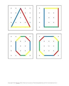 FREE Geoboard Shape Pattern Cards by Kristin Berrier 1st Grade Math, Kindergarten Math, Card Patterns, Shape Patterns, Fun Math, Math Activities, Montessori, Geo Board, Printable Shapes