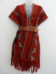 70's Bird Print PONCHO- knit sweater/vest/dress- One size fits most- Womens Vintage poncho- Boho- Hippie