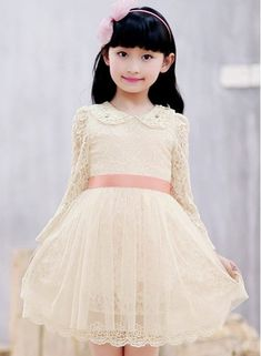 Stylish Lace Spliced Long Sleeve Mini Princess Dress For Girl